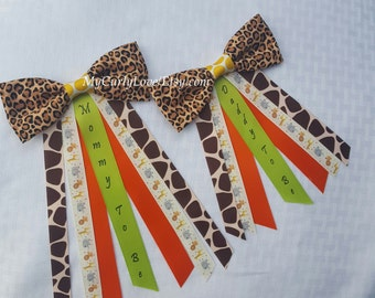 Bow Tie Safari Baby Shower Mommy to be Pin/Bow Tie Safari Daddy to be Pin/Safari Baby Shower Corsage/Jungle Baby Shower Pin/Jungle Mommy Pin