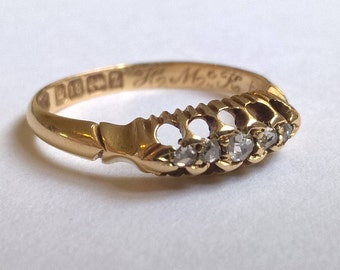 Superb Quality Antique Old Rose Cut Diamonds and 18ct Gold Engagement ring,  d.1889, UK Size L
