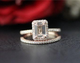 Unique Wedding Ring Set 14K Rose Gold  Morganite Ring Set 5x7mm Emerald Cut Morganite Engagement Ring& Diamond Wedding Band Set Promise Ring