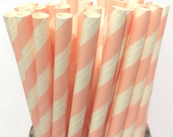 2.85 US Shipping -Pink Paper Straws - Pink straws - Cake pop sticks - Drinking Straws