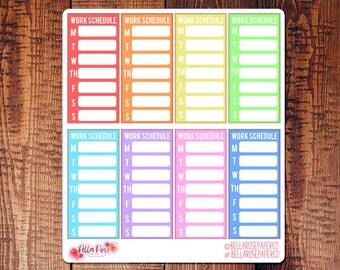 Work Schedule Sidebar Planner Stickers, Work Planner Stickers, for use in Erin Condren Planners, Happy Planner Stickers B006