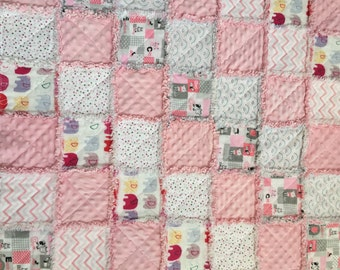 Pink And White Flannel Baby Girl Rug Quilt.