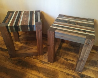 Rustic Modern Wood End Table