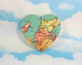 Scotland Map Wooden Hanging Heart