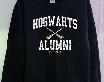 Hogwarts Alumni Sweatshirt Harry Potter Shirt Gildan 2 Colors Clothing Gray Black Grey