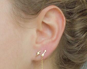 Lightning earrings - flash studs - lightning bolt earrings - lightning stud earrings - tiny bolt earrings - gold lightning earrings - studs
