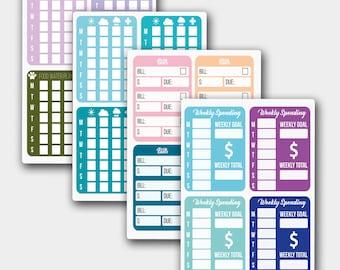 Planner Stickers For Life Planners, Tracker Kit, Weather Tracker, Money Tracker, Pet Tracker, Finance Tracker, Stickers