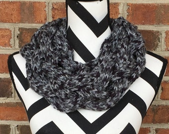 Black and Gray Braided Cowl *FREE SHIPPING*