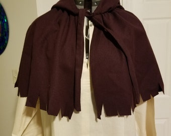 Renaissance Peasant/Worker's Shoulder Cape Burgundy