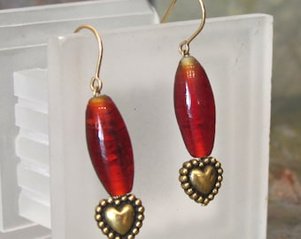 Valentine Earrings ~ Gold Heart Dangle Earrings with Red Glass Beads ~ Bold and Dramatic - 14Kt Gold Filled Earwires