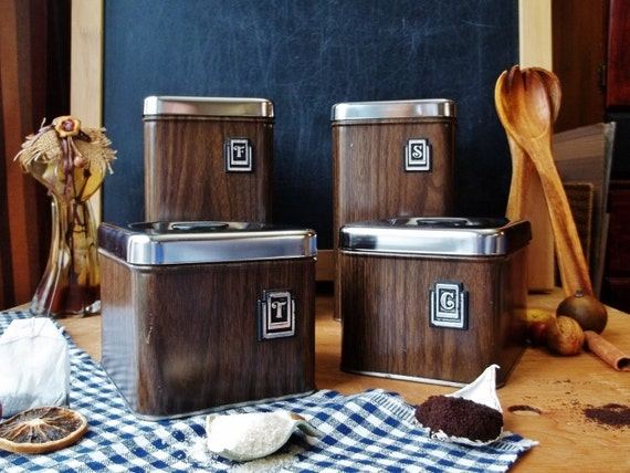 Vintage Metal Canister Sets Faux Wood Chrome Lid Boxes Kitchen Counter Gift Container Storage Box Made In Canada Four Dish Retro Brown
