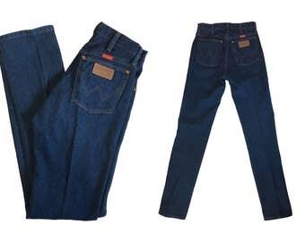 Size 5 Vintage Wrangler Jeans Vintage Denim Jeans Dark Wash Denim Jeans Wrangler Denim High Waisted Jeans High Waist Denim Jeans Blue Jeans