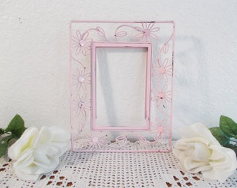 Vintage Pink Flower Metal Picture Frame Photo Decoration Mid Century Industrial Country Farmhouse Nursery Home Decor Birthday Gift Her