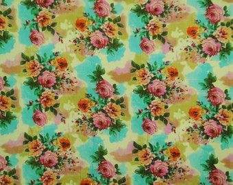 "Home Decor Fabric, Floral Print, Pale Yellow Fabric, Dress Material, Sewing Fabric, 43"" Inch Cotton Fabric By The Yard ZBC7329B"