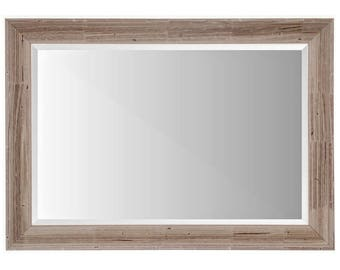 42x30 Wide BARNWOOD Framed Beveled Mirror, Nailmarks & Knots, Wide Rake, Choose Size, Large Wall Mirrors, Framed Mirrors, Handmade In VT
