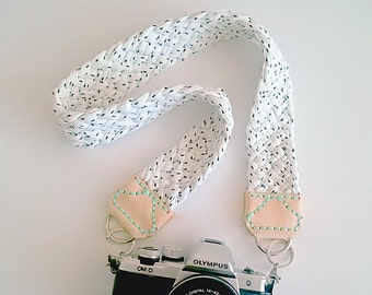 Camera Strap with Braided White Fabric Yarn, Natural Leather Ends & Mint Stitching, Modern and Comfortable Woven Jersey Strap for dslr