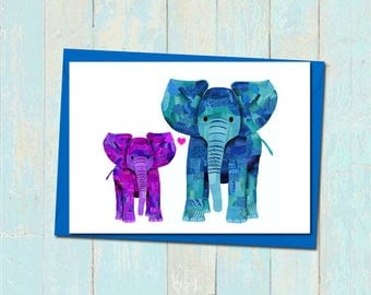 Elephant fathers day card, Elephant card for dad, First fathers day card, Personalised Father daughter card, Father son card, Custom colours