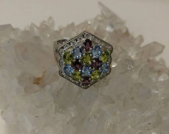 Peridot, Amethyst, and Blue Topaz Ring Size 6.5