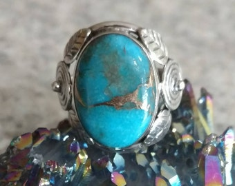 Copper Blue Turquoise Ring Size 5 1/2