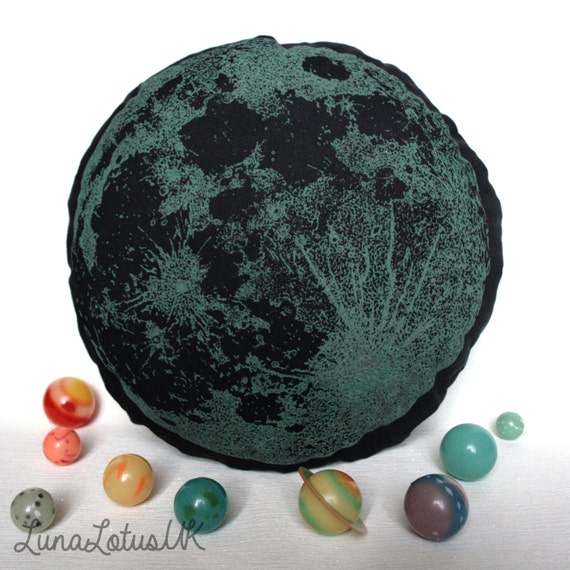Full Moon Cotton Cushion - Glow in the Dark Screen Printed - Lunar Phase Planets Space - Solar System Pillow - Galaxy Decor