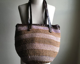 vintage 80s sisal jute african straw hand woven shoulder bag bohemian annie hall purse