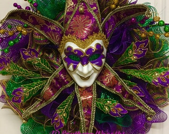 Mardi Gras Wreath, Venetian Mask Wreath, Fat Tuesday, Carnival Wreath