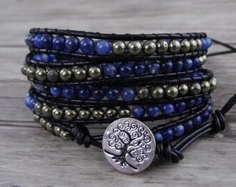 Blue veins stone bracelet 5 wraps bracelet leather waps bracelet Boho beads Bracelet Pyrite Bracelet bead boho bead wrap bracelet SL-0531