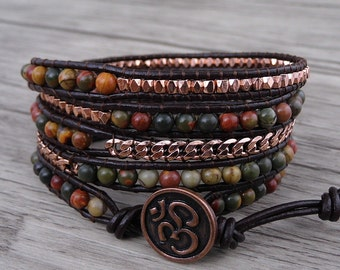 picasso jasper wrap bracelet boho wrap bracelet Rose Gold bead chain wrap bracelet yoga beaded bracelet 5 rows leather wrap bracelet SL-0539