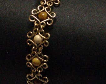 Bracelet brass floral/mokaite