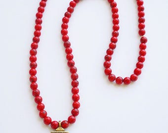 Red howlite natural beaded gold Ethiopian cross long necklace