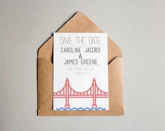 CUSTOM PRINTED | San Francisco Save The Date