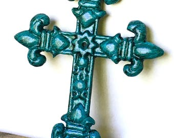 Turquoise Fleur de Lis Cross - Godmother Gift - Unique Wall Crosses - Christening Gift - Gallery Wall Decor - Cast Iron Cross - Baptism Gift