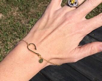 Personalized Gold Fish Hook Bracelet, Fishing Jewelry, Sideways Fishing Hook, Christian Bracelet, Personalized Gold Bracelet