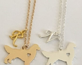 Sale* Personalized Golden Retriever Necklaces Gold or Silver plated Initial Charm Gift Free gift bag Handmade Christmas gift