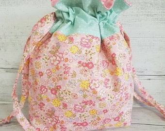 Knitting project bag, Sewing bag, Sock knitting bag, Toiletry bag, Drawstring Bag, Travel Bag, Shabby Chic, Pink Floral, Gift Bag, Storage.
