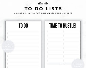 TO DO LISTS / To Do List Printable / 2018 Planner / Printable To Do Lists / To Do List / To Do / The Frankie Planners in Smoke / 415