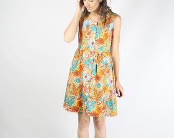80s abstract fruit floral Summer dress Cotton dress Mini dress Beach dress Orange dress, XS Small 3657