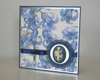 Angel greeting card, Blue greeting card, Elegant card, Blue happy birthday card, Blue floral greeting card