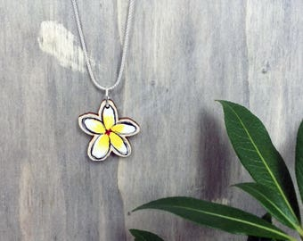 White Flower Necklace or Choker with Wooden Frangipani Floral Charm & choice of Sterling Silver Chain or Grey Faux Suede Cord, unique gift