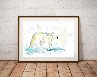 Polar Bear art, polar bear print, polar bear, animal art, polar bear illustration, bear print, polar bear nursery, arctic nursery,