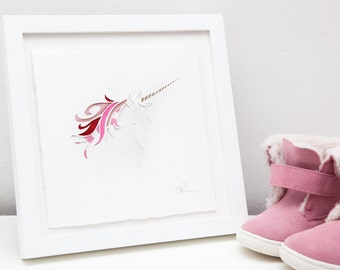 Candy cane unicorn papercut art // Christmas gift - personalized gift - handmade - pink picture - glitter - mixed media - nursery wall art