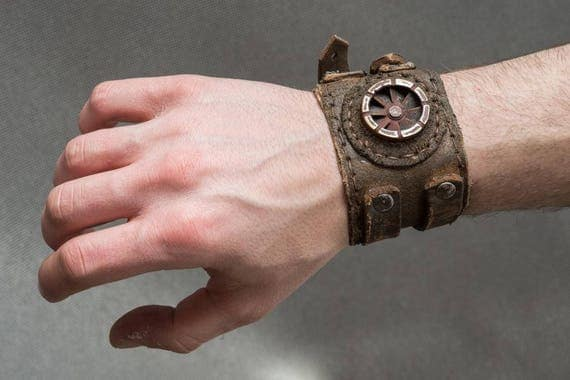Rusted Dystopian Bracelet - Steampunk Post Apocalyptic Leather Cuff - Industrial Men's Leather Bracelet by WastedCouture