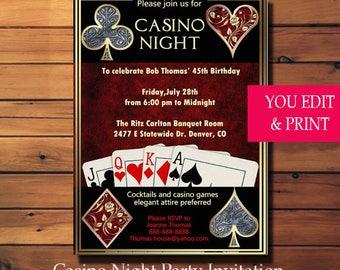 Casino Night Invitation, Casino Invitation, Casino Party Invitation, Casino Birthday Invitation, Las Vegas Invitation, You Edit PDF