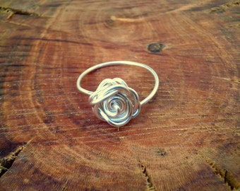 Silver Rose Ring, Silver Wrapped Ring, Wire Wrapped Silver Rose Ring, Rose Ring, Tarnish Resistant Rose Ring