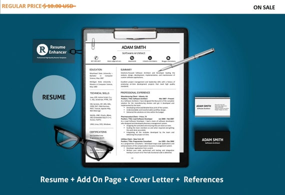 80% OFF SALE  Professional Resume Template | CV Template + Add On Page + Cover Letter + Reference Letter