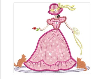 APPLIQUE SOUTHERN BELLE machine embroidery download 3 diff sizes ( 5x5  6x6  7x7)