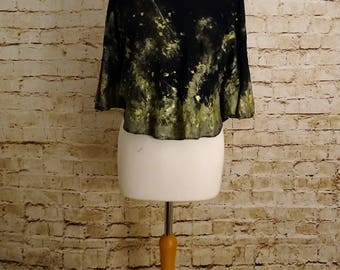 Gold Slouch Top - Alternative, Grunge, Goth, Cropped, Relaxed Fit, Hand Made. Hand Painted, Lace Trim,
