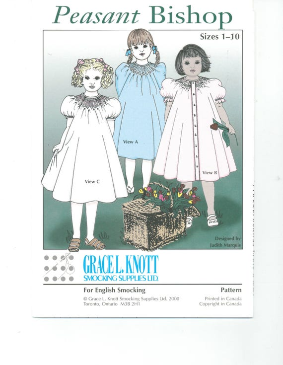Peasant Bishop,Grace Knott pattern size 1 to 10, smocking, heirloom,Knott's Dots, vintage