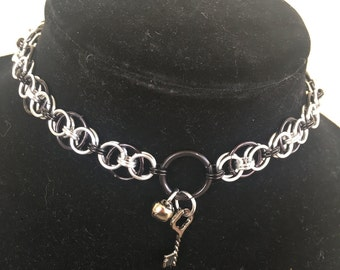 MADE TO ORDER Hellm Chainmaille Collar / Choker in Sliver & Black