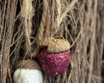Clay Acorn Glitter Decoration, With real acorn tops, fall home decor